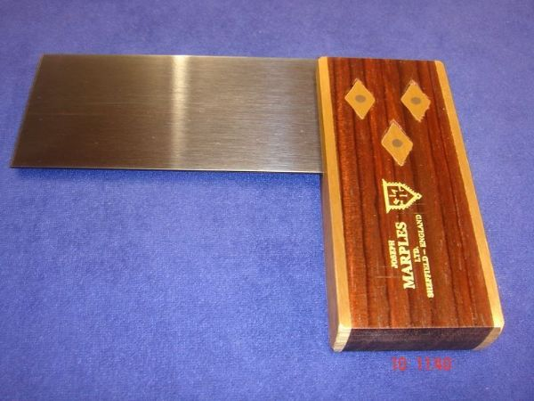 "Joseph Marples Rosewood Carpenters Try Square 99mm 4"" Brass Sheffield TRIAL T04"